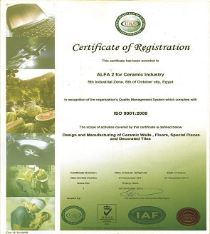 ISO 9001 year (2008) Quality management certification.