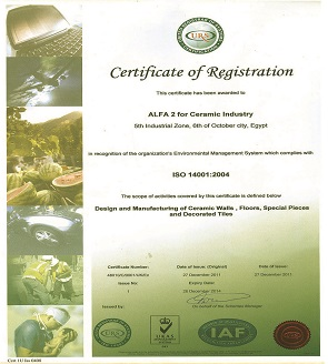 ISO 14001 year (2004) Environmental management certification.