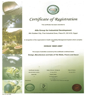 ISO 18001 OHSAS year (2007) Occupational Health and Safety management system certification.